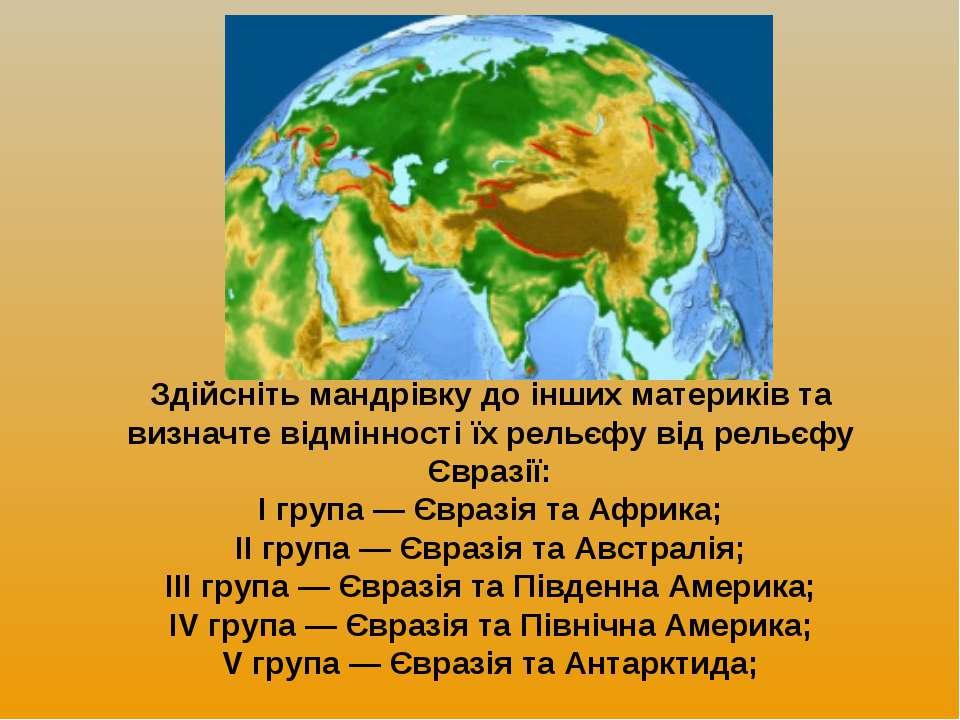 Здійсніть мандрівку до інших материків та визначте відмінності їх рельєфу від...