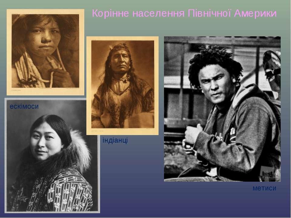 Корінне населення Північної Америки індіанці ескімоси метиси