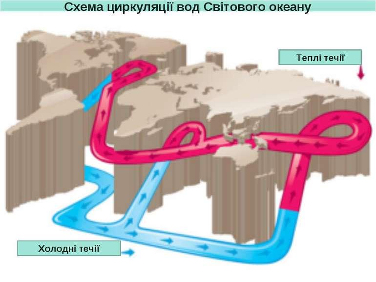 Схема циркуляції вод Світового океану Теплі течії Холодні течії