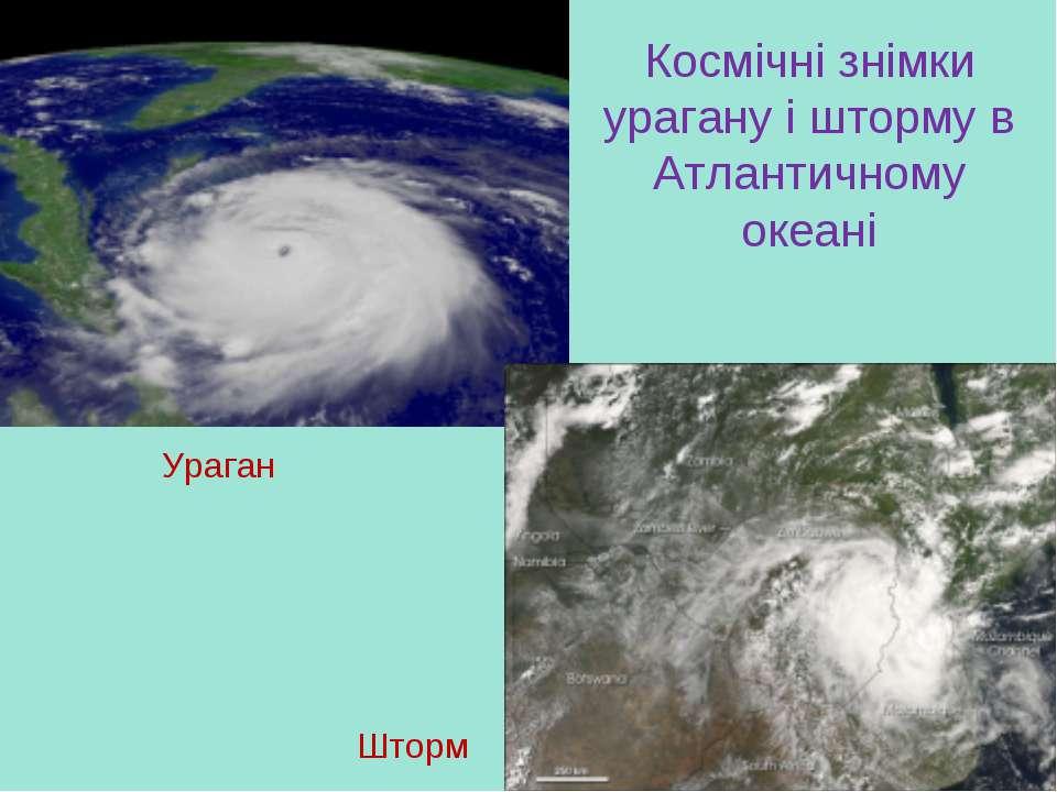 Космічні знімки урагану і шторму в Атлантичному океані Ураган Шторм