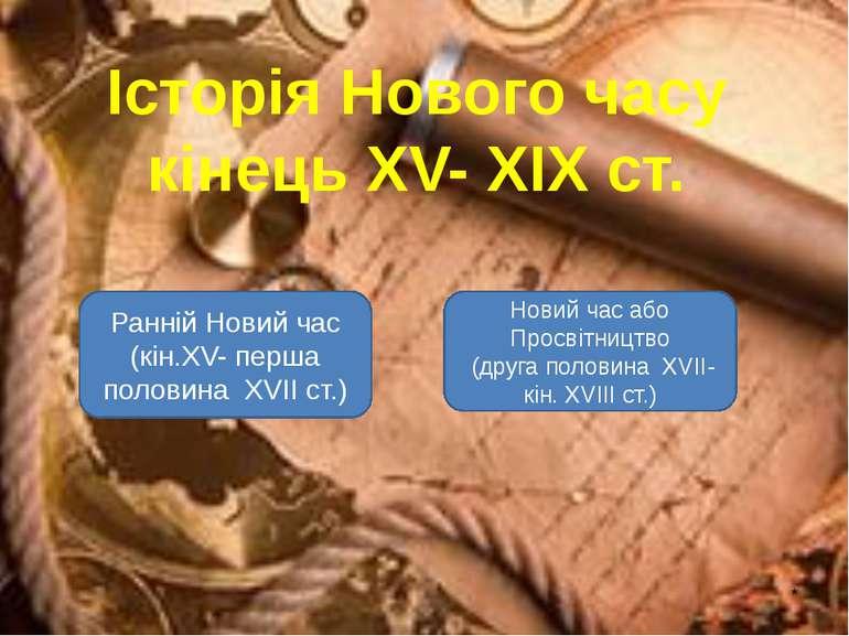 * Історія Нового часу кінець XV- XIX ст. Ранній Новий час (кін.XV- перша поло...