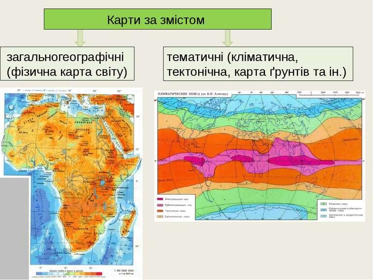 Карти за змістом загальногеографічні (фізична карта світу) тематичні (клімати...