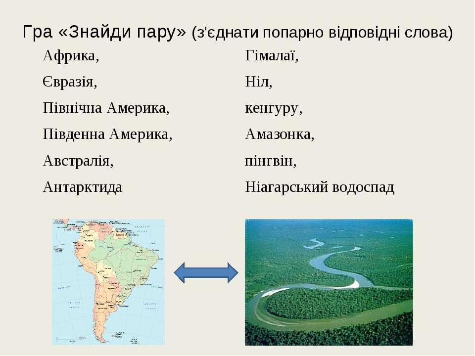 Гра «Знайди пару» (з'єднати попарно відповідні слова) Африка, Євразія, Північ...