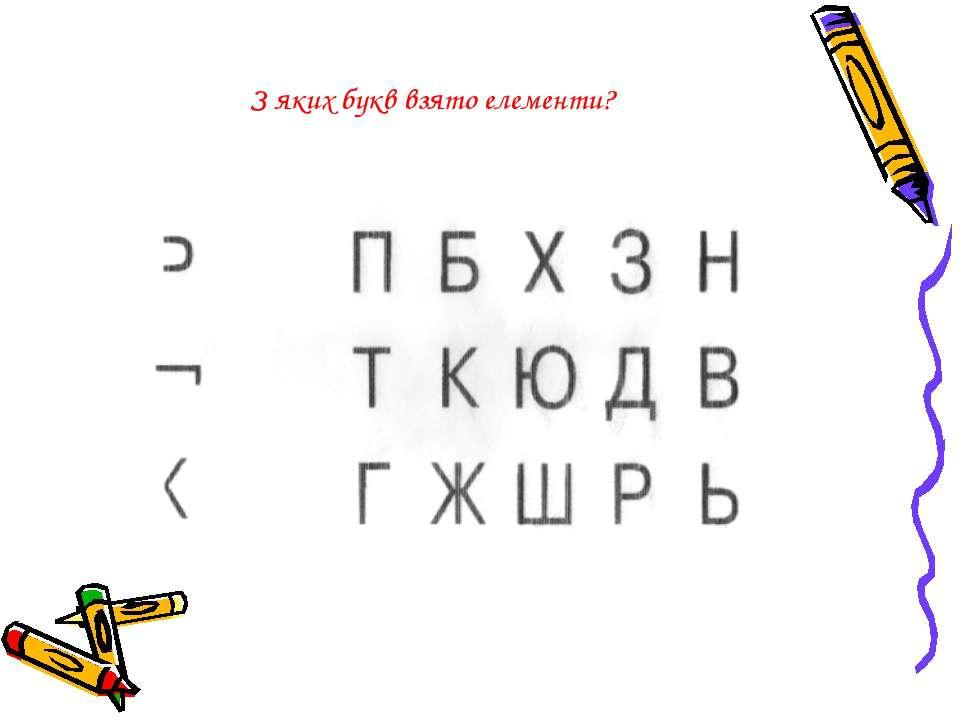 З яких букв взято елементи?