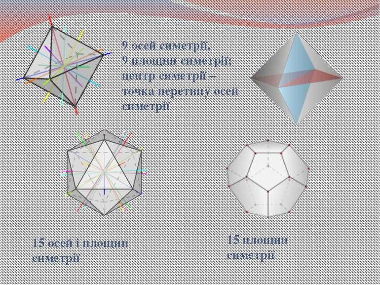 9 осей симетрії, 9 площин симетрії; центр симетрії – точка перетину осей симе...