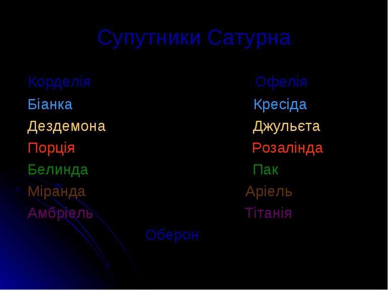 Супутники Сатурна Корделія Офелія Біанка Кресіда Дездемона Джульєта Порція Ро...