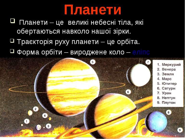 Планети Планети – це великі небесні тіла, які обертаються навколо нашої зірки...