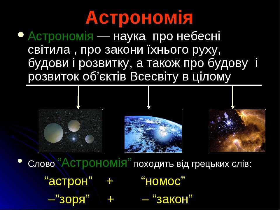 Астрономія Астрономія — наука про небесні світила , про закони їхнього руху, ...