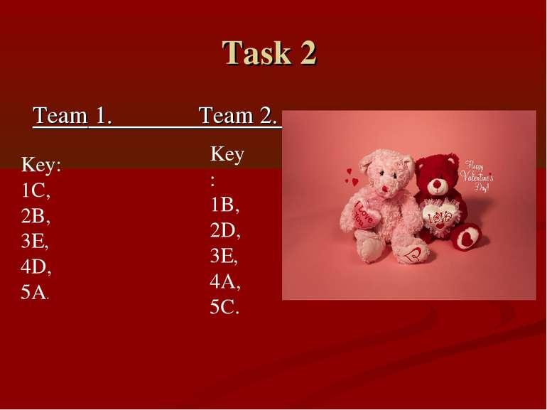 Task 2 Team 1. Team 2. Key: 1C, 2B, 3E, 4D, 5A. Key: 1B, 2D, 3E, 4A, 5C.