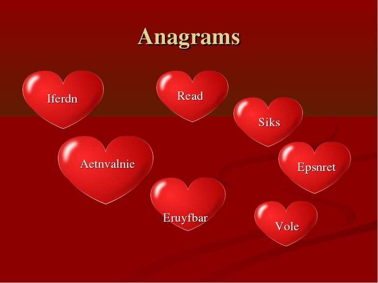 Anagrams Read Iferdn Vole Eruyfbar Siks Epsnret Aetnvalnie