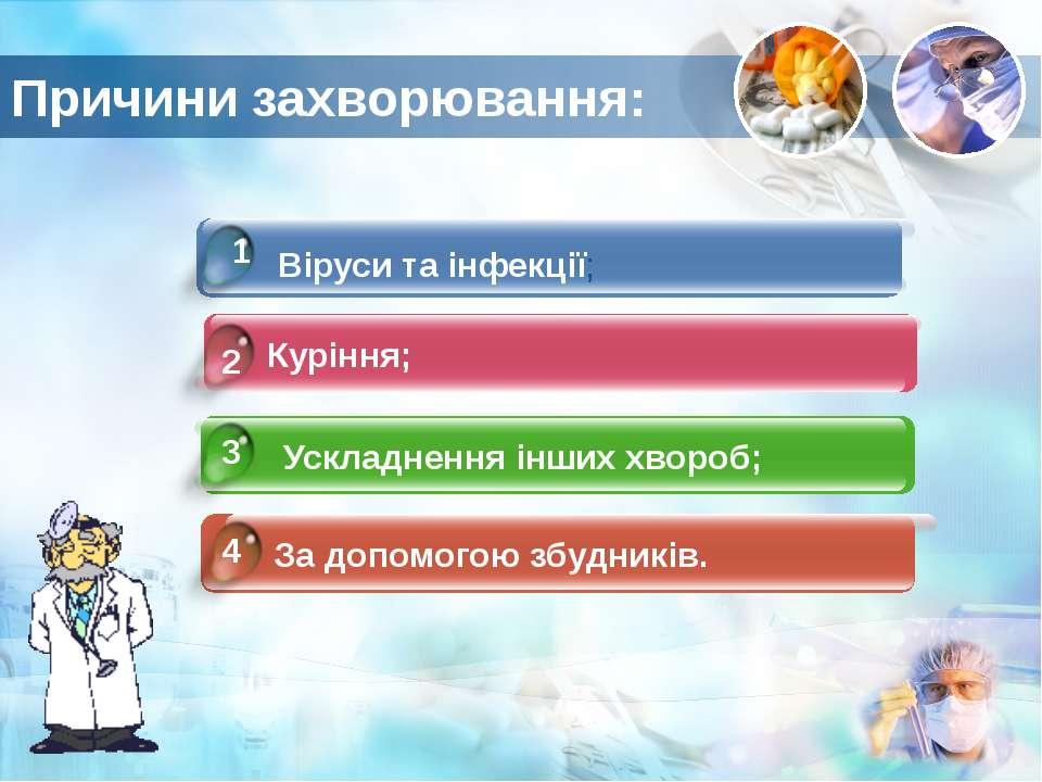 Причини захворювання: 4 1 2 3 Віруси та інфекції; Куріння; Ускладнення інших ...