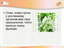 Отже, кожен орган у рослинному організмі має своє призначення, тобто виконує ...