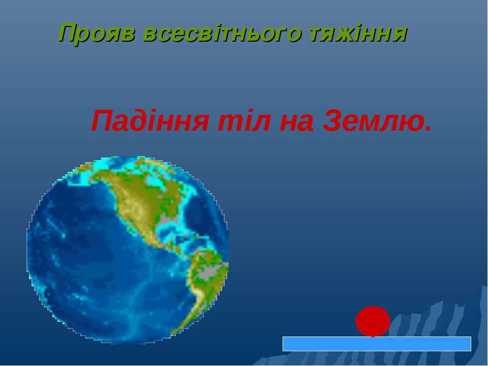 Падіння тіл на Землю. Прояв всесвітнього тяжіння