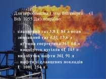 сланцевий газ 3,8 ─84 л води звичайний газ 4,5─13,6 л атомна енергетика 36─64...