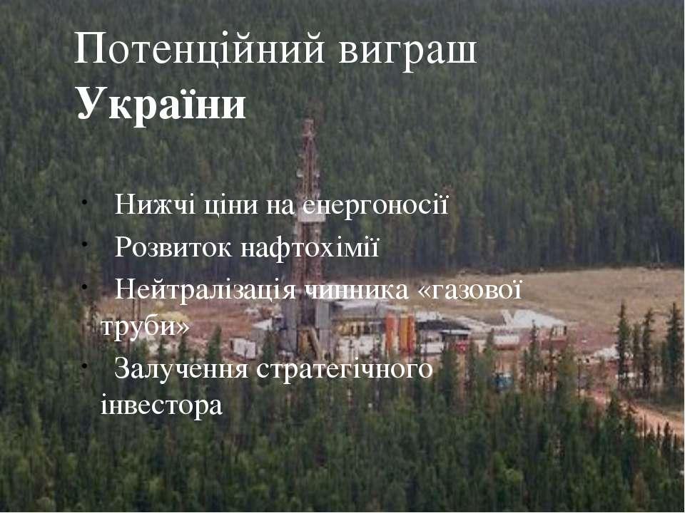 Нижчі ціни на енергоносії Розвиток нафтохімії Нейтралізація чинника «газової ...