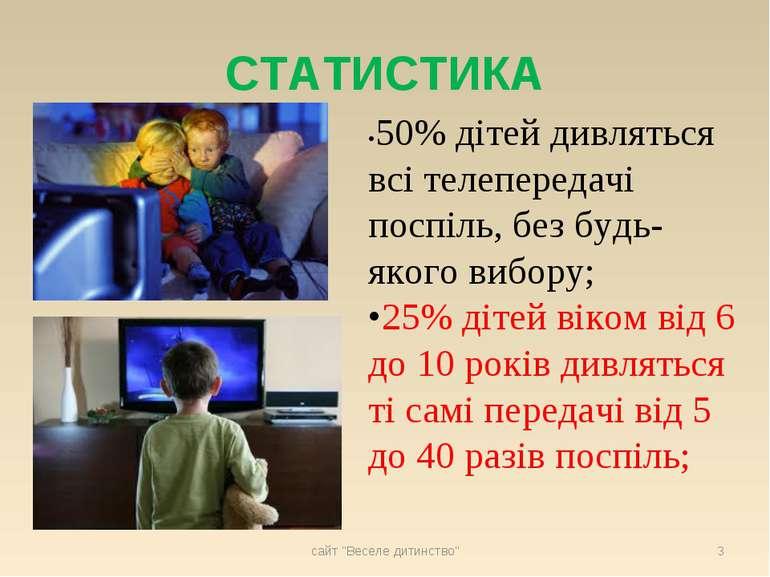 СТАТИСТИКА •50% дітей дивляться всі телепередачі поспіль, без будь-якого вибо...