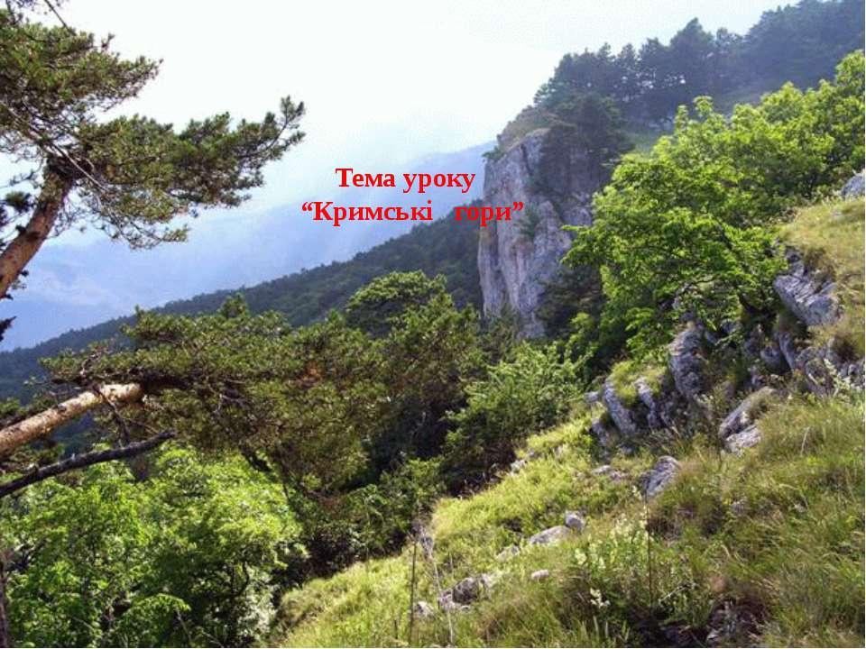 """Тема уроку """"Кримські гори"""""""
