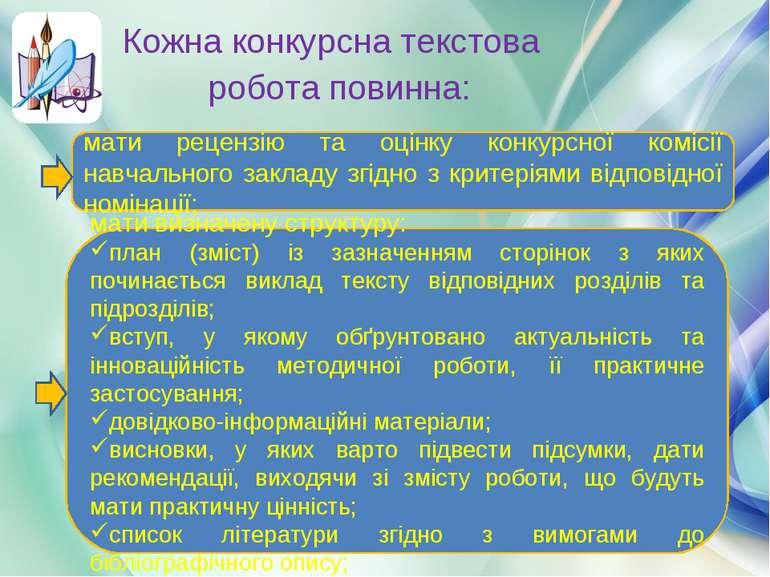 Кожна конкурсна текстова робота повинна: мати рецензію та оцінку конкурсної к...