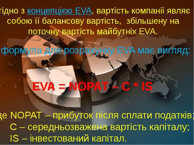 Згідно з концепцією EVA, вартість компанії являє собою її балансову вартість,...
