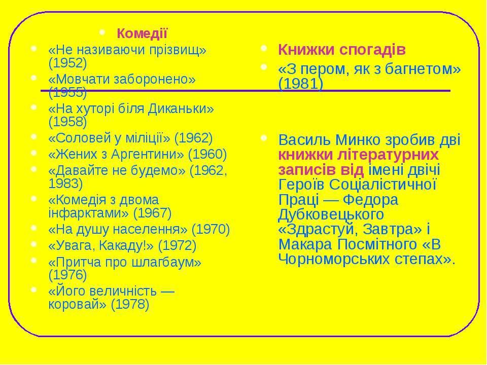 Комедії «Не називаючи прізвищ» (1952) «Мовчати заборонено» (1955) «На хуторі ...