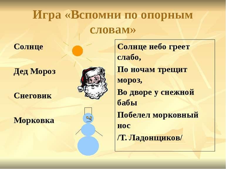 Игра «Вспомни по опорным словам» Солнце Дед Мороз Снеговик Морковка Солнце не...