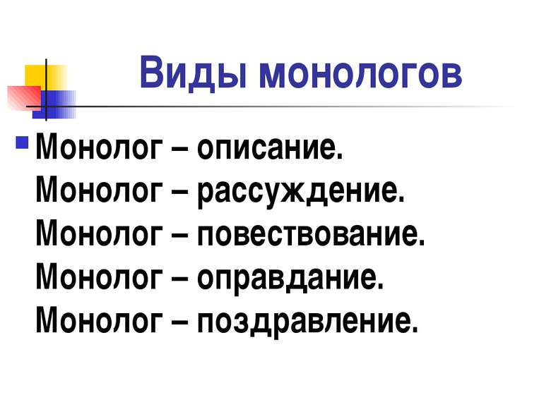 Виды монологов Монолог – описание. Монолог – рассуждение. Монолог – повествов...
