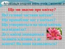Активізація опорних знань учнів: ( мозкова атака) Що ми знаємо про квітку? Як...