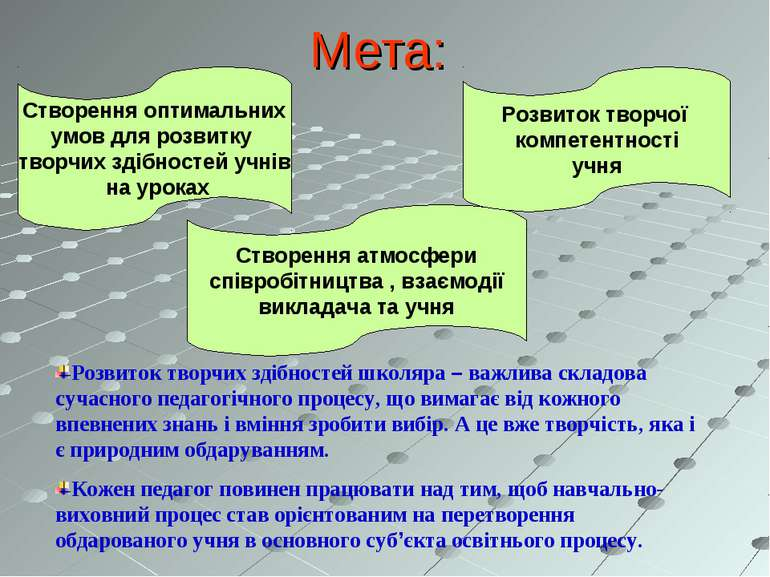 Мета: Створення оптимальних умов для розвитку творчих здібностей учнів на у...