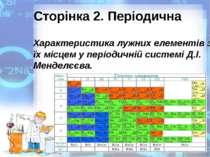 Сторінка 2. Періодична Характеристика лужних елементів за їх місцем у періоди...