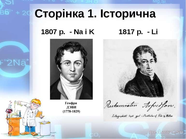 Сторінка 1. Історична 1807 р. - Na i K 1817 р. - Li