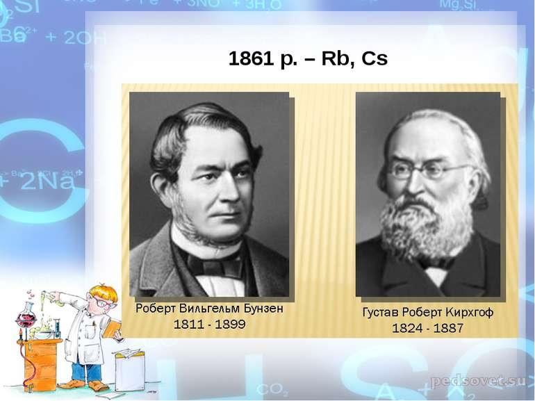1861 р. – Rb, Cs