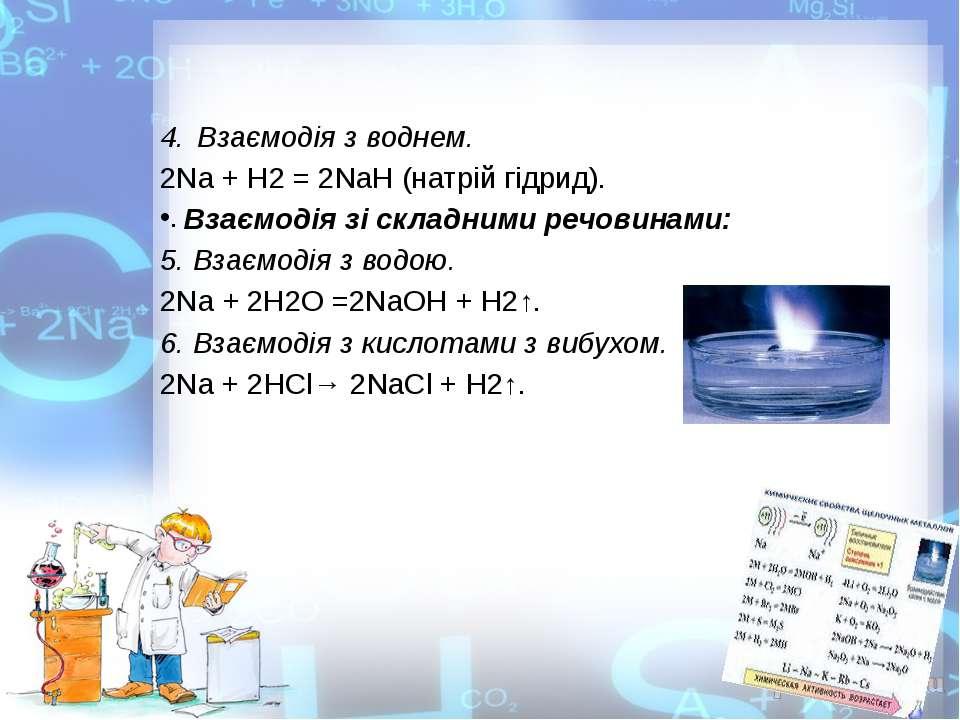 Взаємодія з воднем. 2Nа + Н2 = 2NаН (натрій гідрид). Взаємодія зі складними р...
