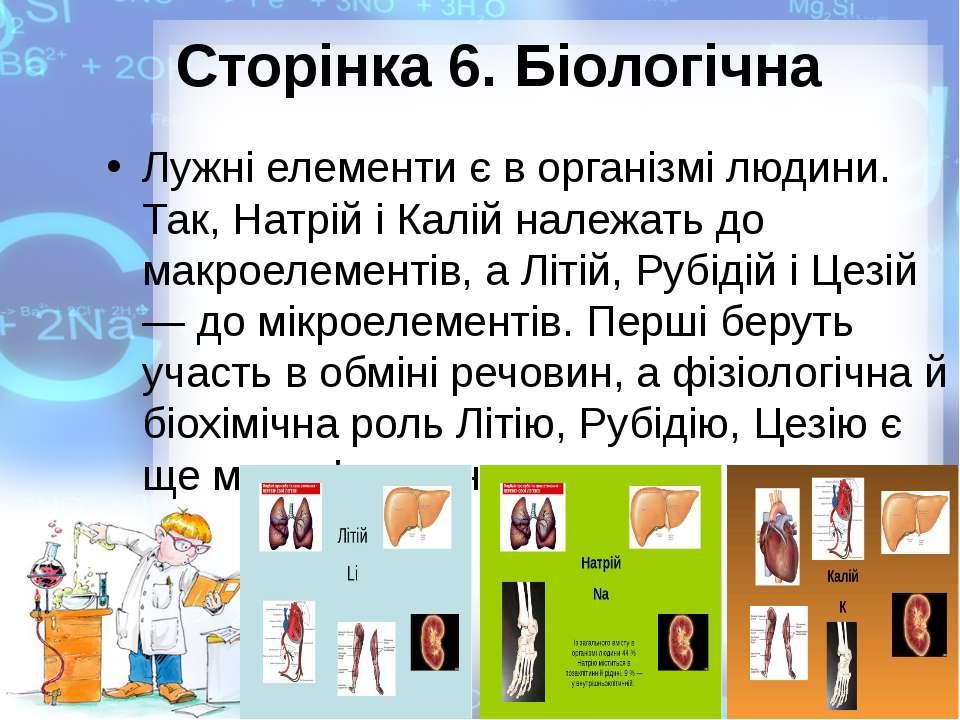 Сторінка 6. Біологічна Лужні елементи є в організмі людини. Так, Натрій і Кал...