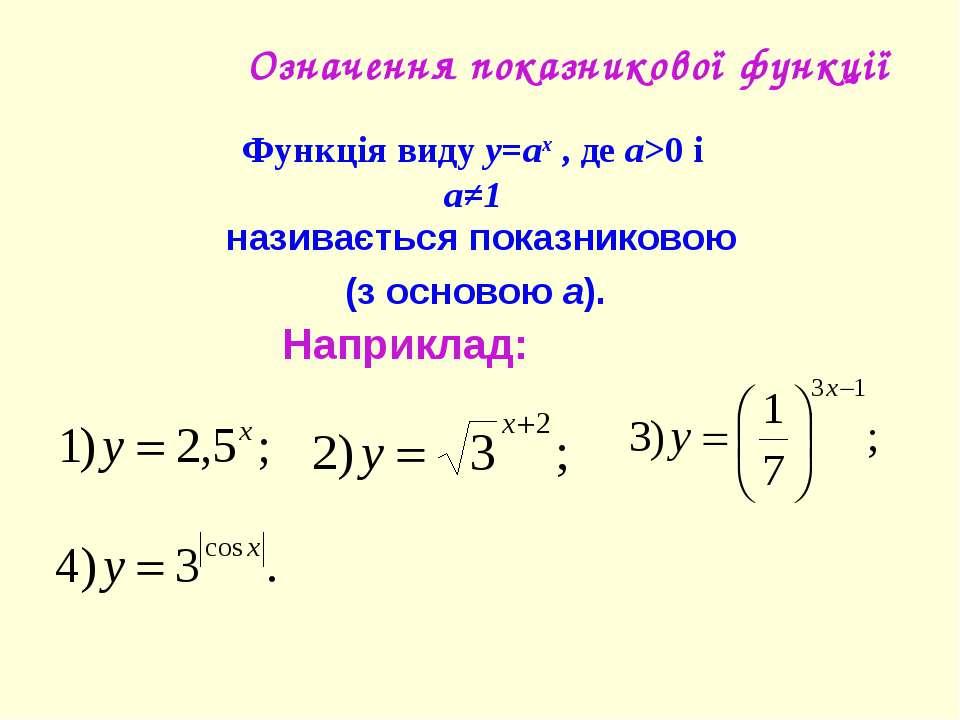 Означення показникової функції Наприклад: Функція виду y=ax , де a>0 і a≠1 на...