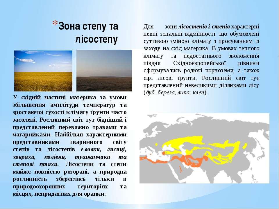 Зона степу та лісостепу Для зонилісостепівістепівхарактерні певні зональн...