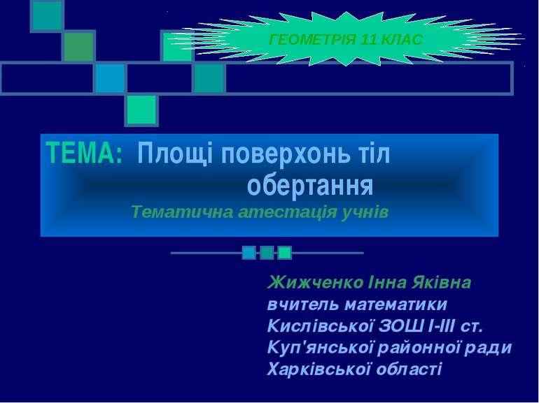 ТЕМА: Площі поверхонь тіл обертання Жижченко Інна Яківна вчитель математики К...