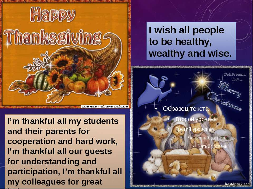 I'm thankful all my students and their parents for cooperation and hard work,...