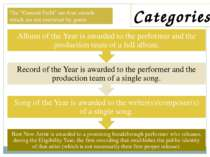 "Categories The ""General Field"" are four awards which are not restricted by ge..."