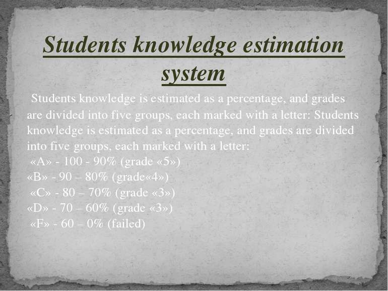 Students knowledge estimation system Students knowledge is estimated as a per...