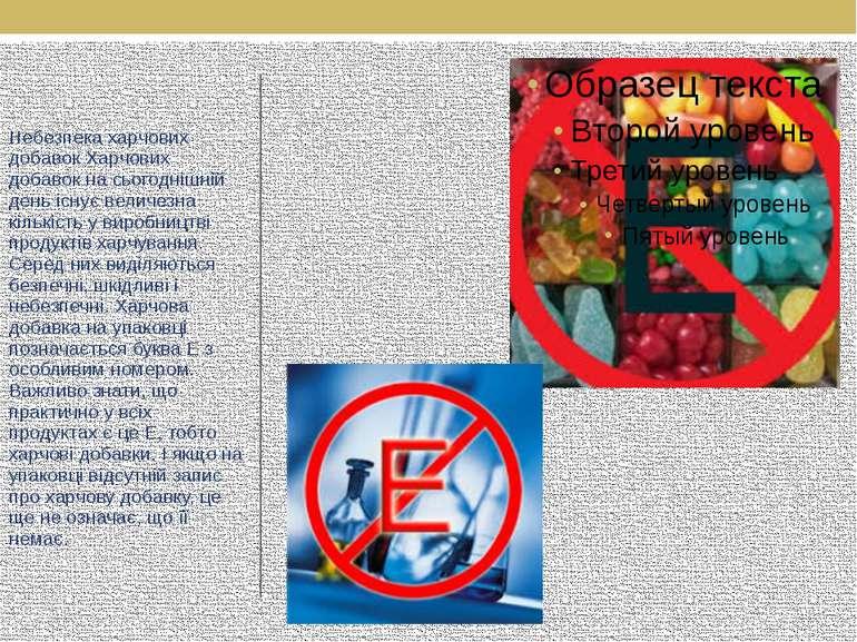 Небезпека харчових добавок Харчових добавок на сьогоднішній день існує величе...