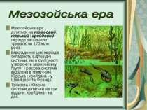 Мезозойська ера ділиться на тріасовий, юрський і крейдовий періоди загальною ...
