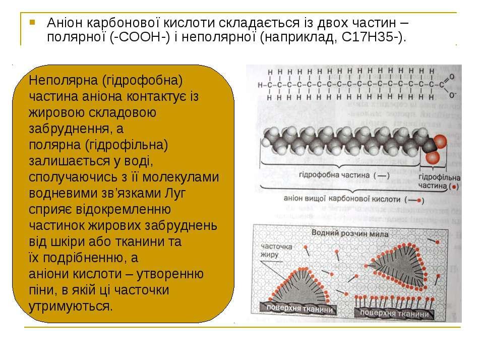 Аніон карбонової кислоти складається із двох частин – полярної (-СООН-) і неп...