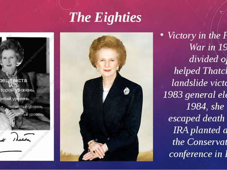 The Eighties Victory in theFalklands Warin 1982 and a divided opposition he...