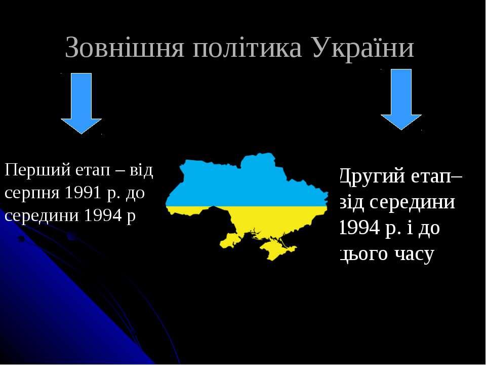 Зовнішня політика України Перший етап – від серпня 1991 р. до середини 1994 р...