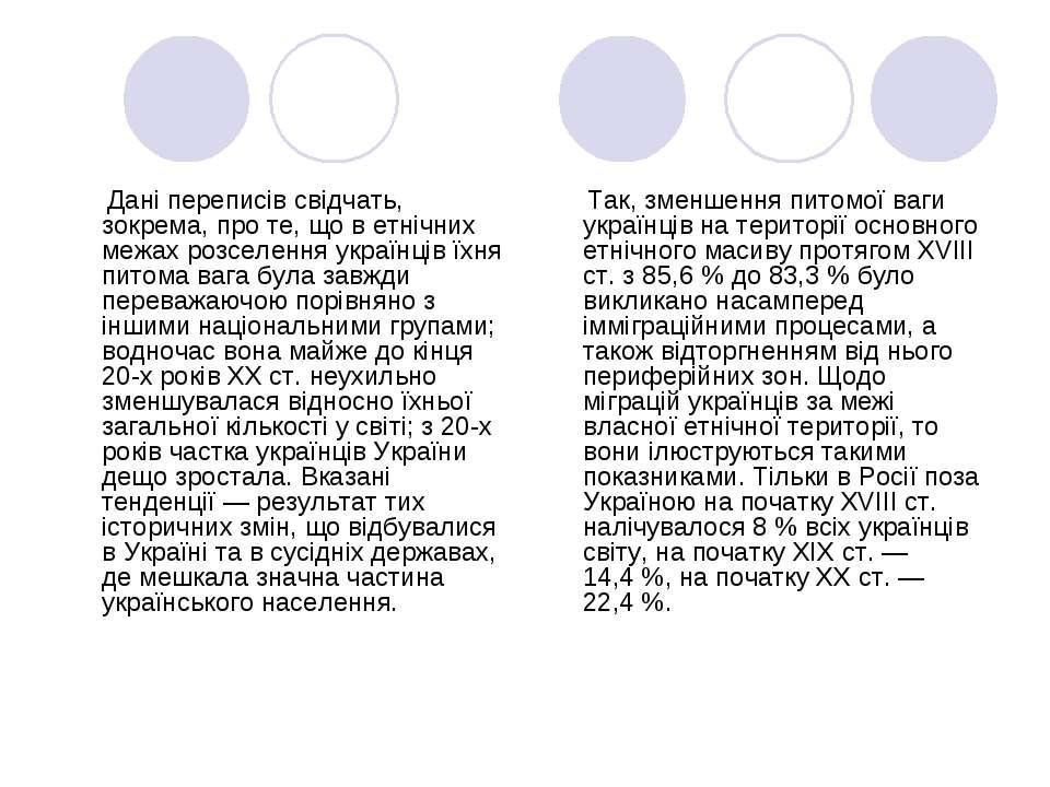 Дані переписів свідчать, зокрема, про те, що в етнічних межах розселення укра...