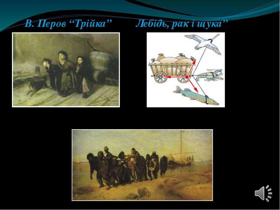 """В. Перов """"Трійка"""" Лебідь, рак і щука"""" І. Рєпін """"Бурлаки на Волзі"""""""