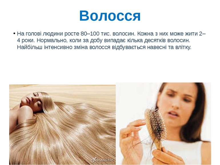 Волосся На голові людини росте 80–100 тис. волосин. Кожна з них може жити 2–4...