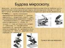 Будова мікроскопу. Мікроскопи – це оптичні прилади для вивчення мікроскопічни...