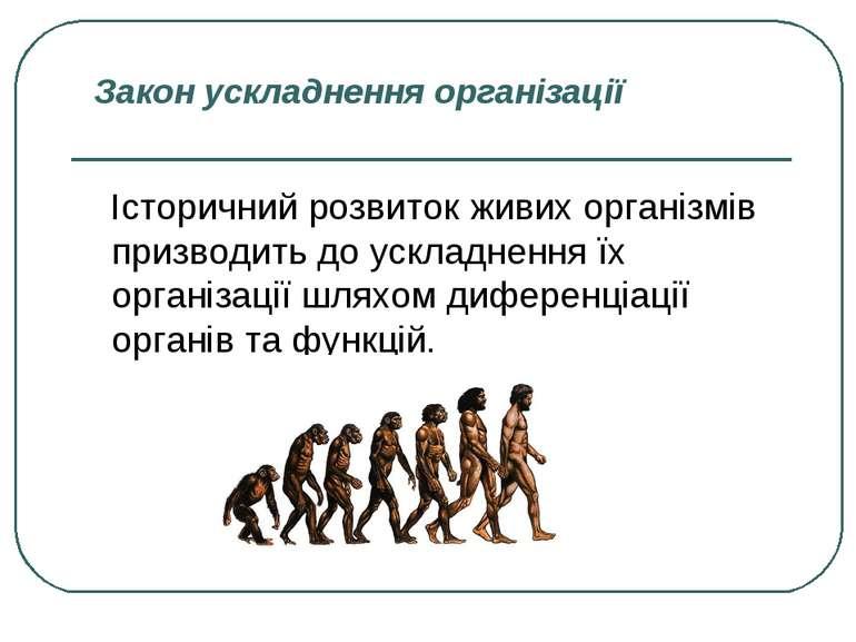 Закон ускладнення організації Історичний розвиток живих організмів призводить...