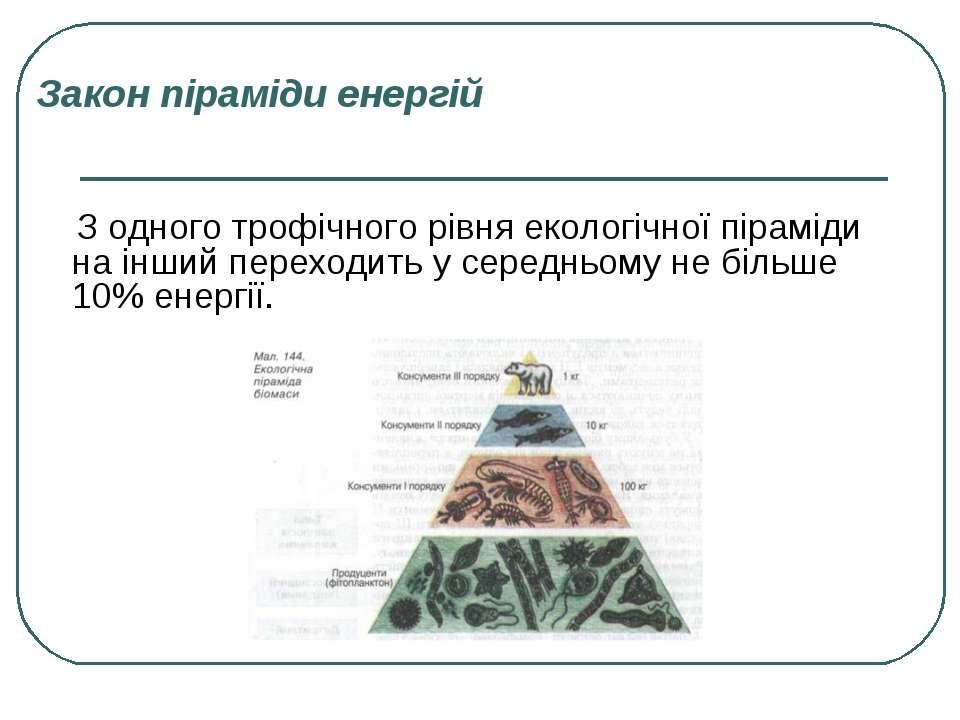 Закон піраміди енергій З одного трофічного рівня екологічної піраміди на інши...